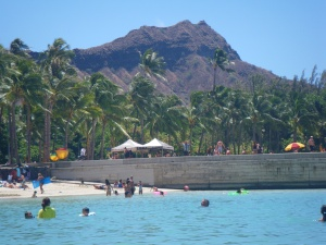 Diamond Head from the water in front of our hotel